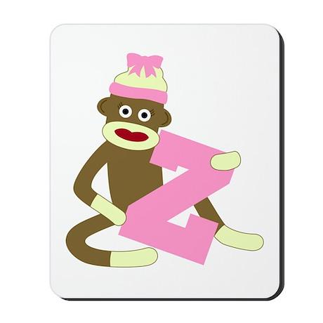 Sock Monkey Monogram Girl Z Mousepad