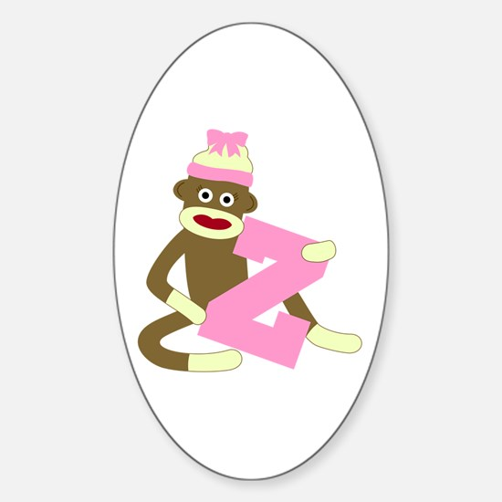 Sock Monkey Monogram Girl Z Sticker (Oval)