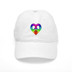 Peace, Love Rainbow Peace Hea Baseball Cap