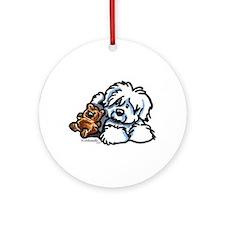 Coton Teddy Ornament (Round)