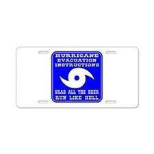 Hurricane Evacuation Aluminum License Plate