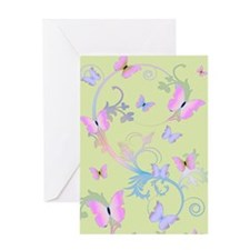 Soft Pink and Purple Butterflies Greeting Card