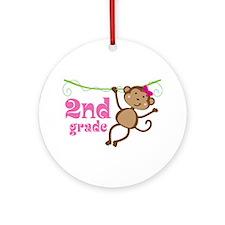 Cute 2nd Grade Monkey Gift Ornament (Round)