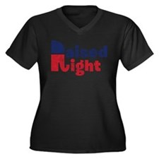 Raised Right 2 Women's Plus Size V-Neck Dark T-Shi