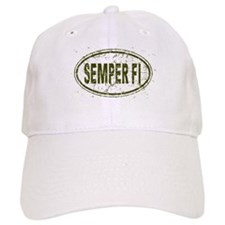 Distressed Semper Fi Oval Baseball Cap