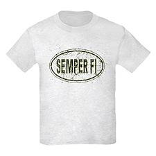 Distressed Semper Fi Oval T-Shirt