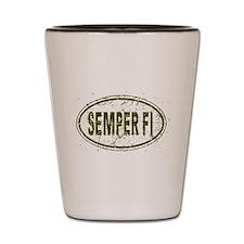 Distressed Semper Fi Oval Shot Glass