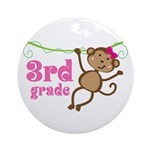 Cute 3rd Grade Monkey Gift Ornament (Round)