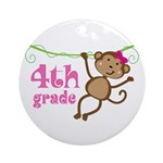 Cute 4th Grade Monkey Gift Ornament (Round)
