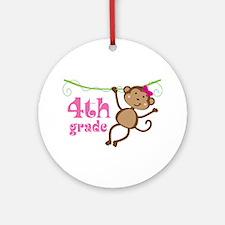 Cute 4th Grade Monkey Gift Ornament (Round)