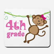 Cute 4th Grade Monkey Gift Mousepad