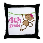 Cute 4th Grade Monkey Gift Throw Pillow