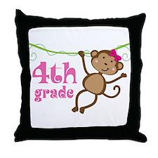 Cute 4th Grade Monkey Gift Throw Pillow
