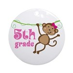 Cute 5th Grade Monkey Gift Ornament (Round)