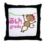 Cute 5th Grade Monkey Gift Throw Pillow