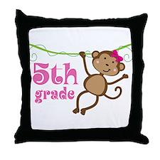 Cute 5th Grade Monkey Gift Throw Pillow