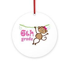 Cute 6th Grade Monkey Gift Ornament (Round)