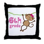 Cute 6th Grade Monkey Gift Throw Pillow