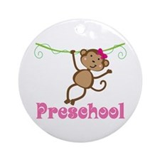 Cute Preschool Monkey Gift Ornament (Round)
