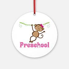 Cute Preschool Monkey Gift Ornament (Round)
