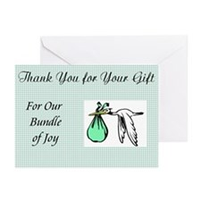 """Stork Baby Shower 7.5""""x 5.5"""" Thank You Cards (6)"""