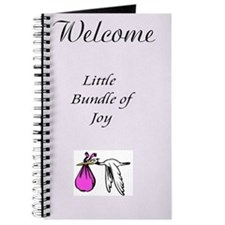 Stork Baby Girl Shower Blank 5x8 Spiral Guest Book