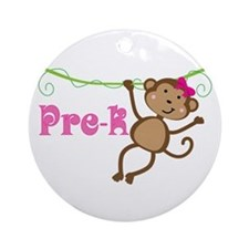 Cute Pre-K Monkey Gift Ornament (Round)