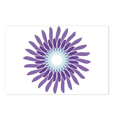 Amethyst Aquamarine Flower Postcards (Package of 8