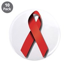 "Red Ribbon 3.5"" Button (10 pack)"