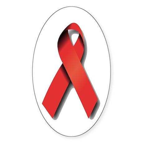 Red Ribbon Sticker (Oval)