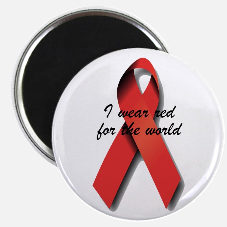 "I Wear Red For The World. 2.25"" Magnet (100 pack)"