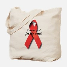 I Wear Red For The World. Tote Bag