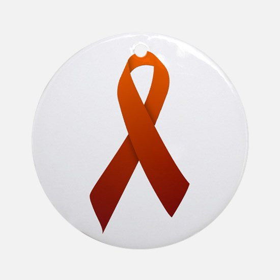 Orange Ribbon Ornament (Round)