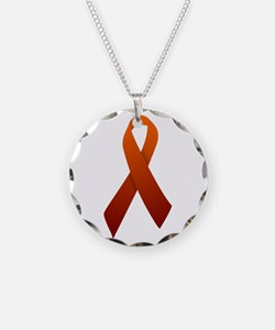 Orange Ribbon Necklace Circle Charm