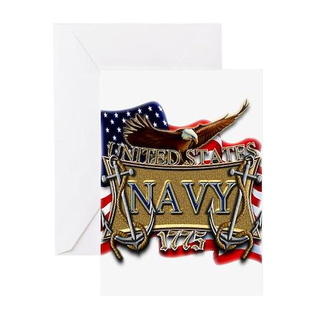 US Navy Flag Anchors and Eagl Greeting Card
