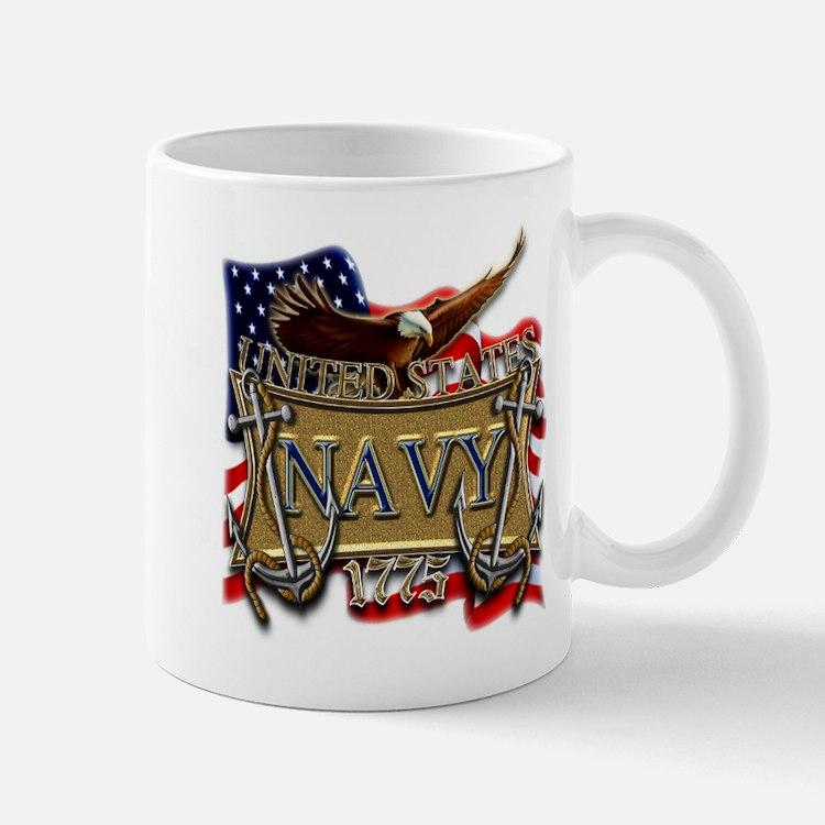 US Navy Flag Anchors and Eagl Small Small Mug