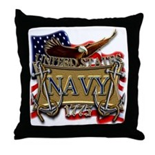 US Navy Flag Anchors and Eagl Throw Pillow