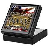 Us navy flag anchors and eagl Keepsake Boxes