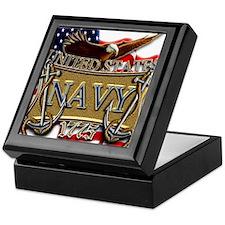 US Navy Flag Anchors and Eagl Keepsake Box