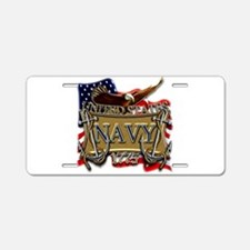 US Navy Flag Anchors and Eagl Aluminum License Pla