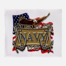 US Navy Flag Anchors and Eagl Throw Blanket