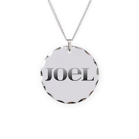 Joel Carved Metal Necklace Circle Charm