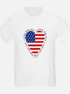 KIDS Heart shape American flag T-Shirt