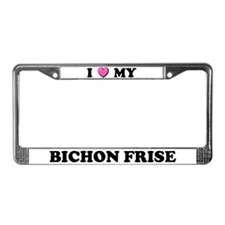I Heart My Bichon Frise License Plate Frame