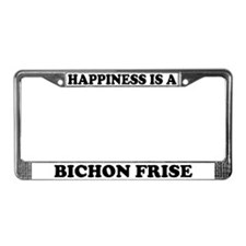 Happiness Is A Bichon Frise License Plate Frame