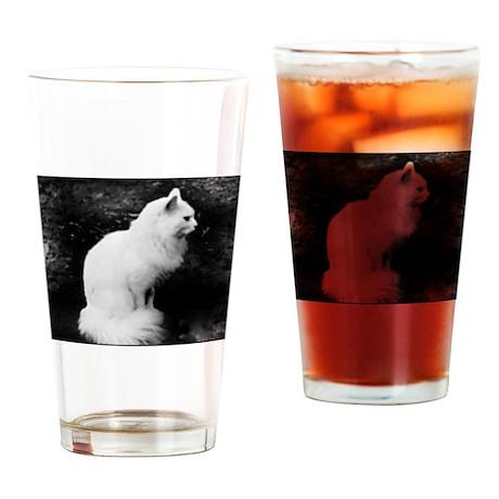 Enchanting White Kitty Drinking Glass