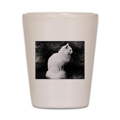 Enchanting White Kitty Shot Glass
