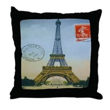 VINTAGE EIFFEL TOWER Throw Pillow