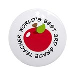World's Best 3rd Grade Teacher Gift Ornament (Roun