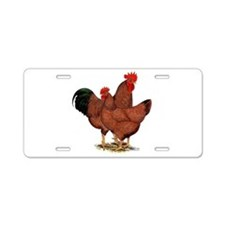 Production Red Chickens Aluminum License Plate